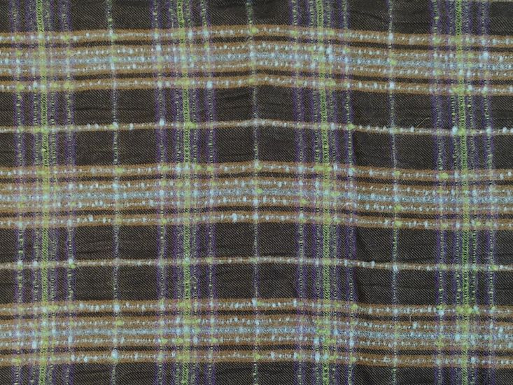 Handwoven Cotton and Wool Blend Plaid, Inver