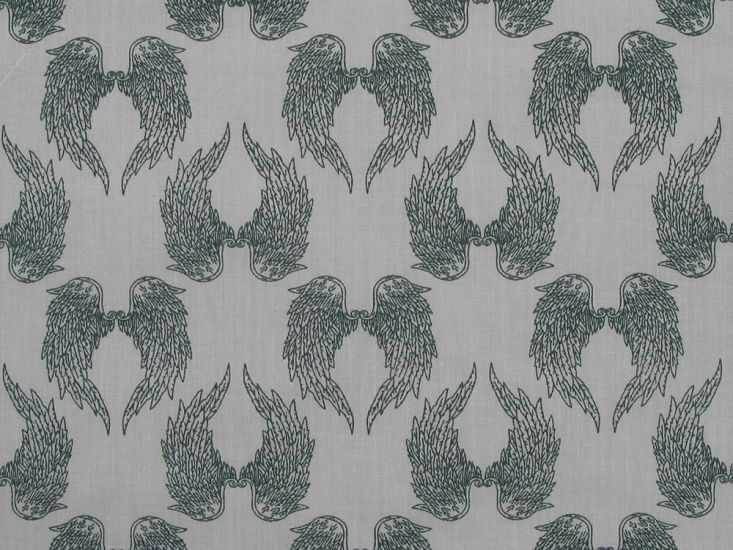 Angel Wings Polycotton Print, Grey