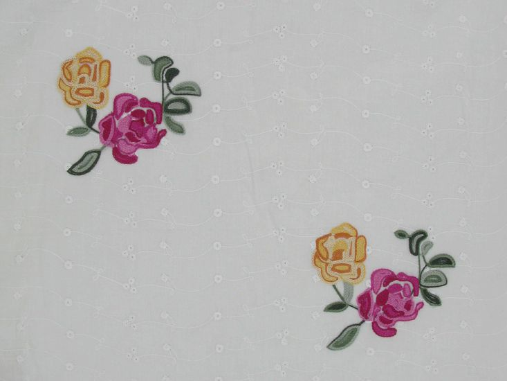Coloured Cotton Broderie Anglaise, Antique Rose
