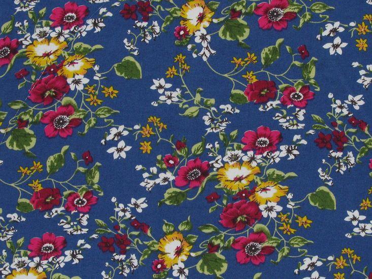 Ashfield Garden Cotton Poplin Print, Royal