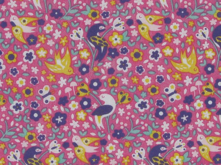 Birds And Blooms Polycotton Print, Pink