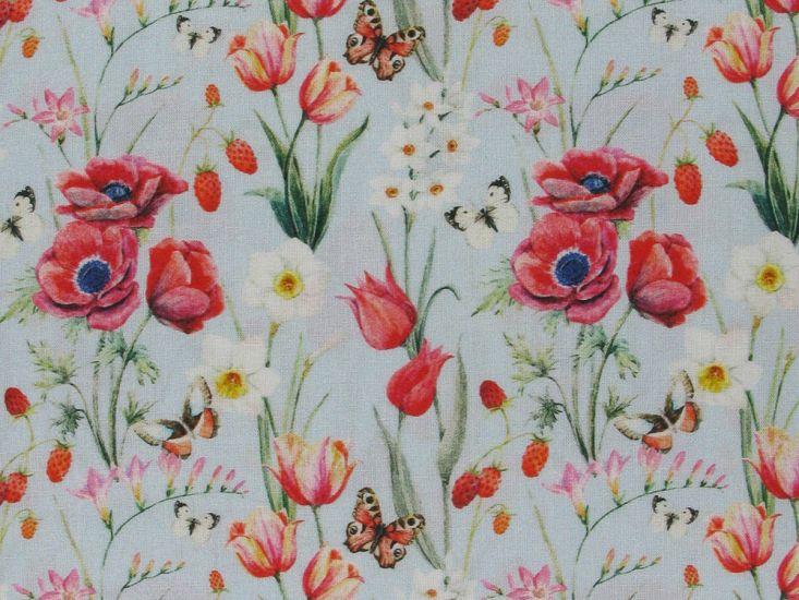 Butterfly Poppy Cotton Print, Sky