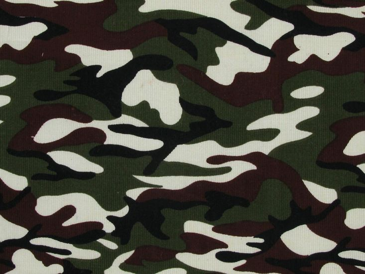 Camouflage Printed Cotton Corduroy, Olive