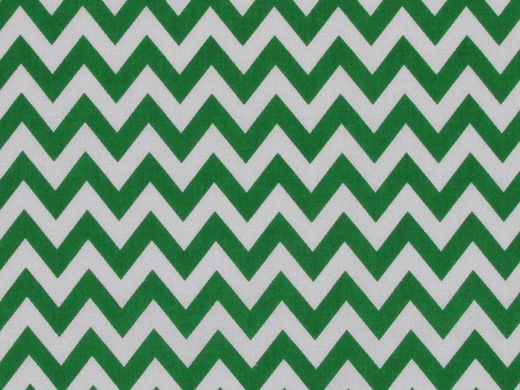 Chevron Polycotton Print, Emerald