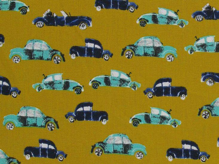 Cool Cars Cotton Print, Ochre