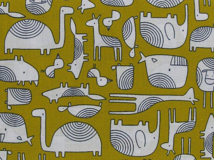 Animal Outline Cotton Print, Mustard