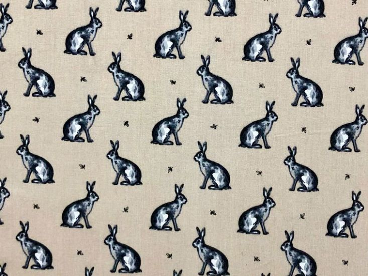 Country Bunny Cotton Print, Natural