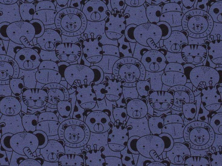 Animals in a Crowd Cotton Jersey, Indigo