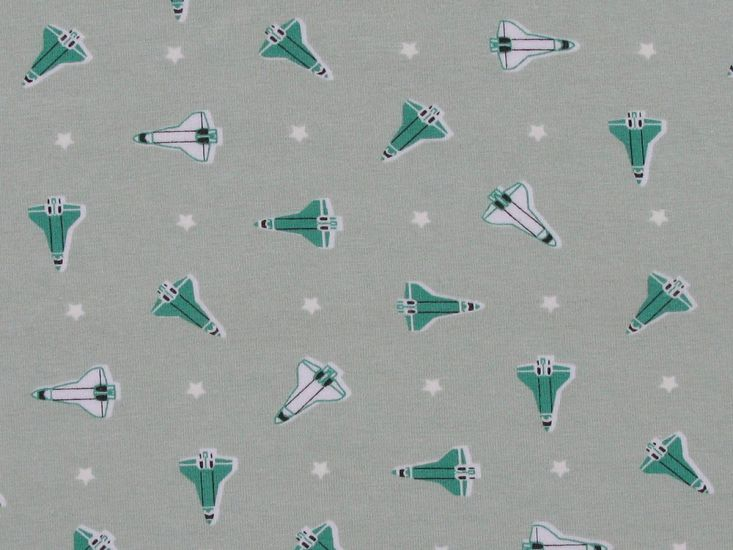Glow In The Dark Rocket Ship Cotton Jersey, Green