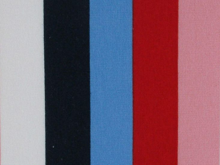 Inch Stripe Cotton Jersey, Blue and Red