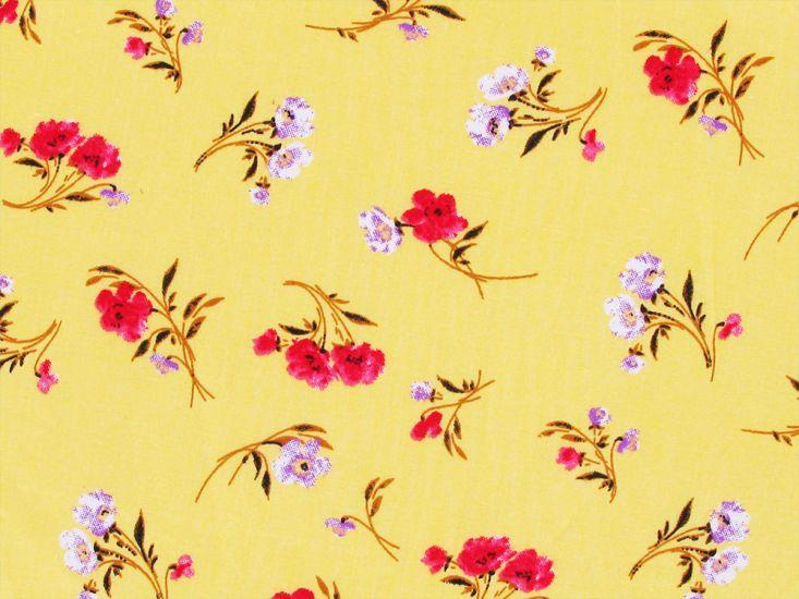 Floating Bouquet Cotton Poplin, Yellow