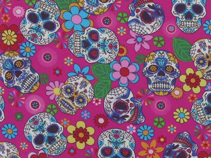 Floral Skull Cotton Poplin Print, Cerise