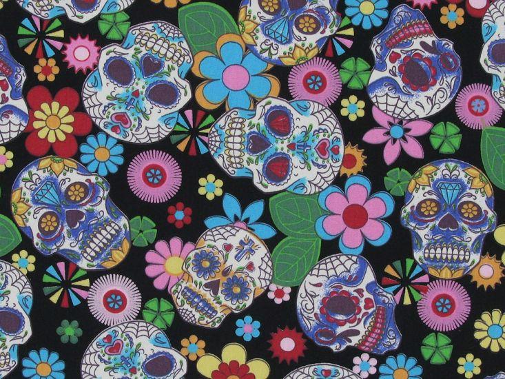 Floral Skull Cotton Poplin Print, Black