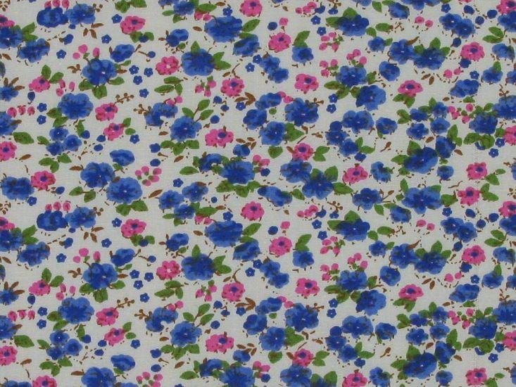 Mini Poppy Field Cotton Poplin, Blue