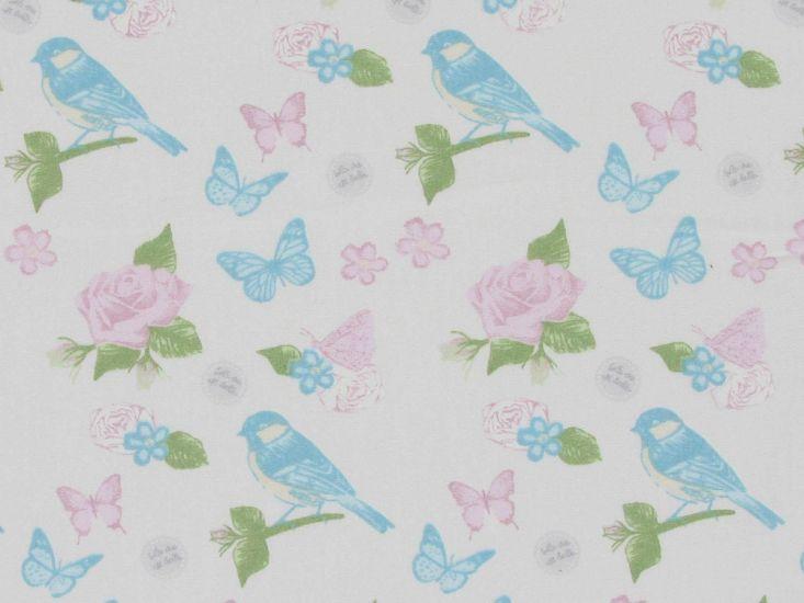 Sparrow Garden Cotton Poplin Print, Pink Rose