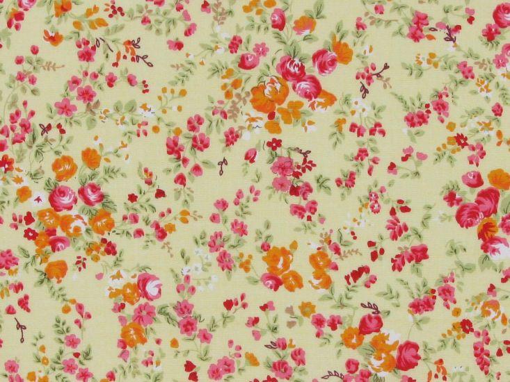 Spring Meadow Cotton Poplin Print, Yellow