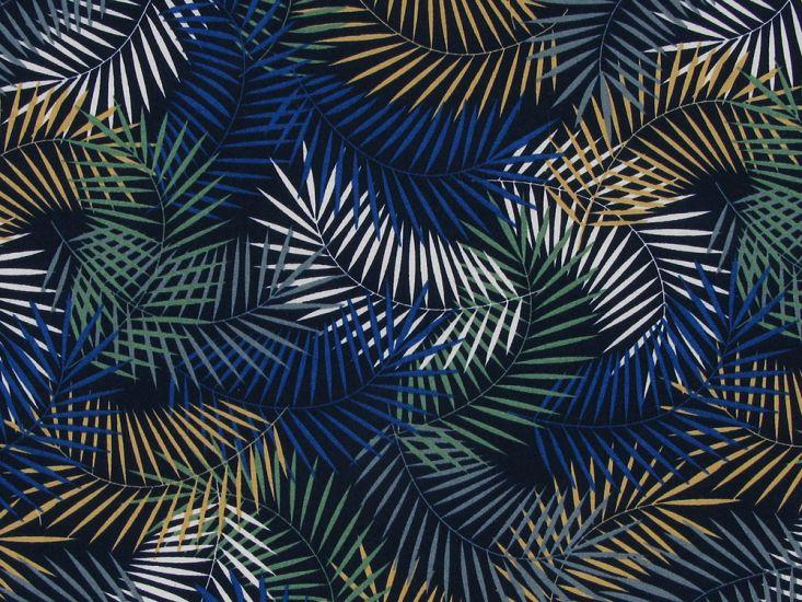 Tropical Fern Cotton Poplin Print, Blue and Gold