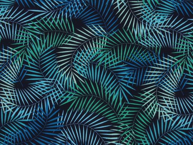 Tropical Fern Cotton Poplin Print, Blue and Green