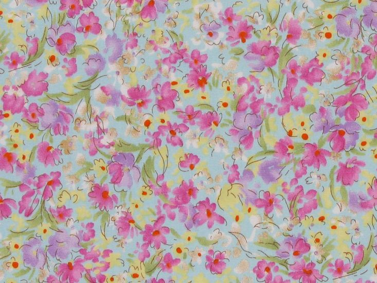 Watercolour Meadow Cotton Poplin Print, Sky