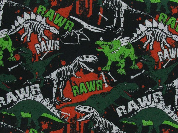 Dinosaur Skeleton Digital Cotton Print
