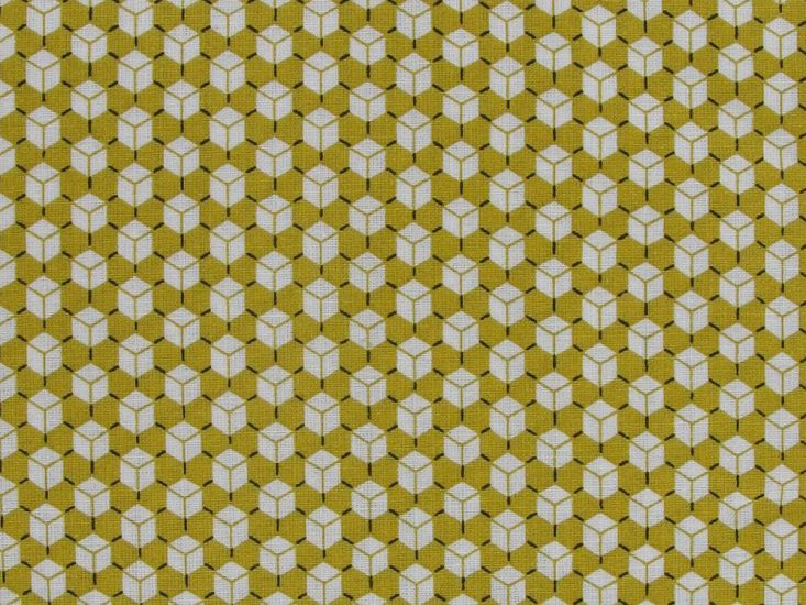 Geometric Mini Cubes Cotton Print, Mustard