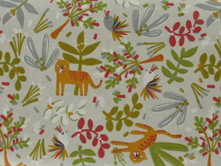Jungle Doodle Cotton Print, Beige