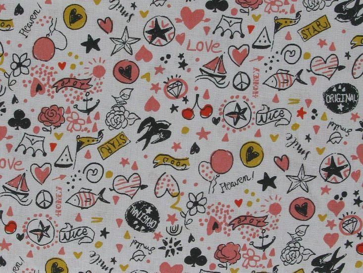 Love Doodle Cotton Print, Brick
