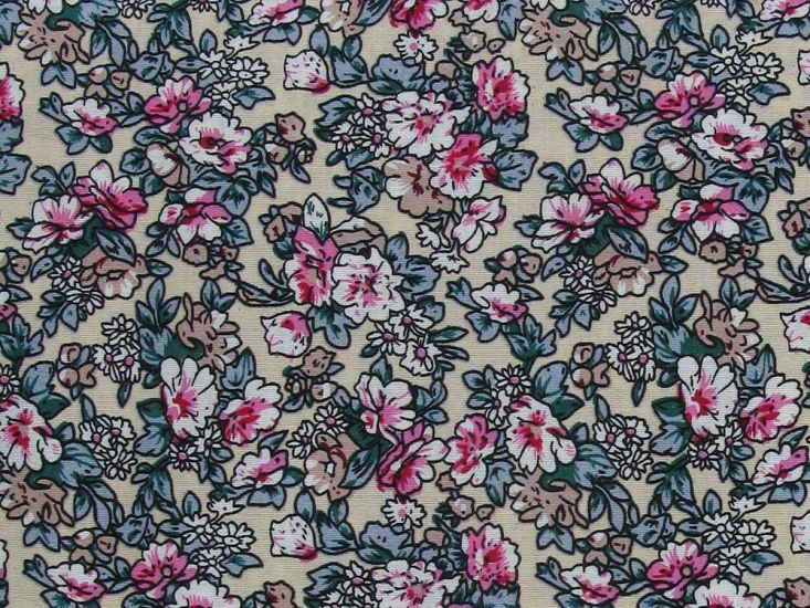 River Rose Cotton Print, Beige