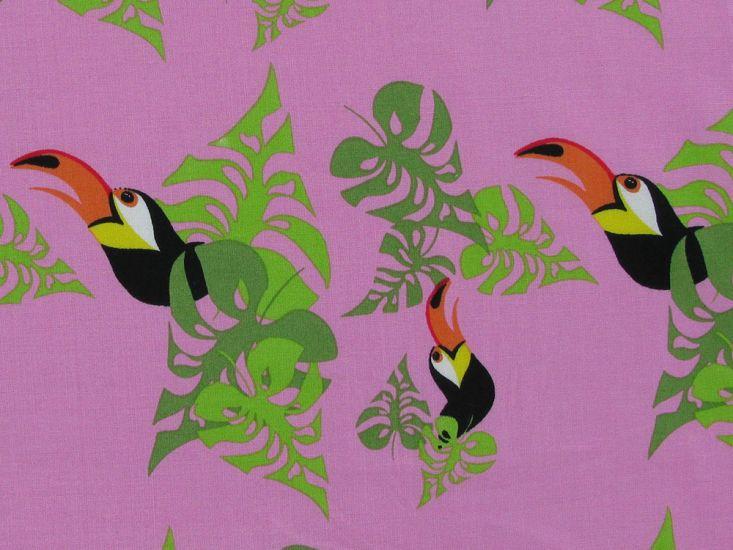 Toucan Leaf Cotton Print, Pink