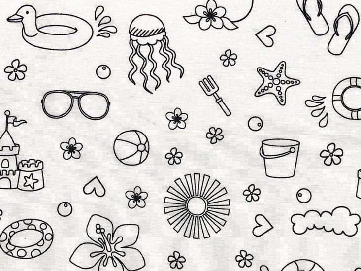 Cotton Rich Panama Canvas, Doodle, Beach Time Fun