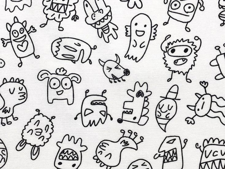 Cotton Rich Panama Canvas, Doodle, Little Monsters
