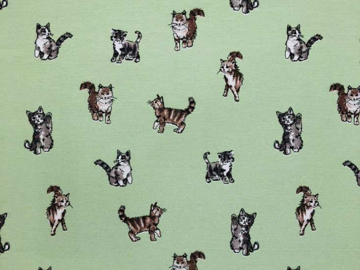 Cotton Rich Panama Canvas, Shabby Cats, Green