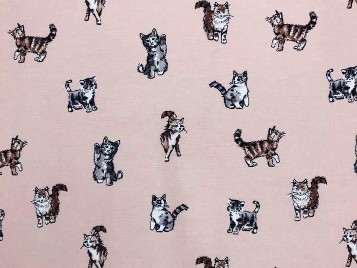 Cotton Rich Panama Canvas, Shabby Cats, Pink