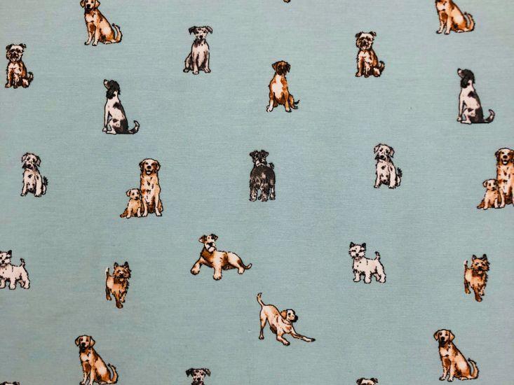 Cotton Rich Panama Canvas, Shabby Dogs, Duck Egg