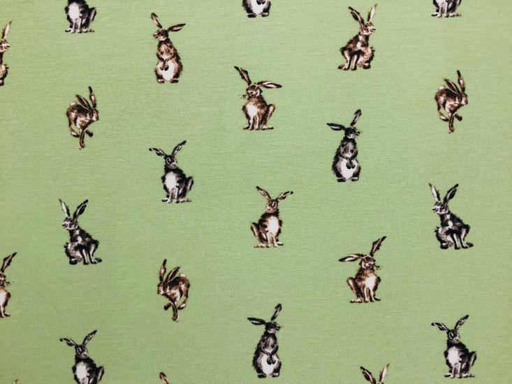Cotton Rich Panama Canvas, Shabby Hares, Green