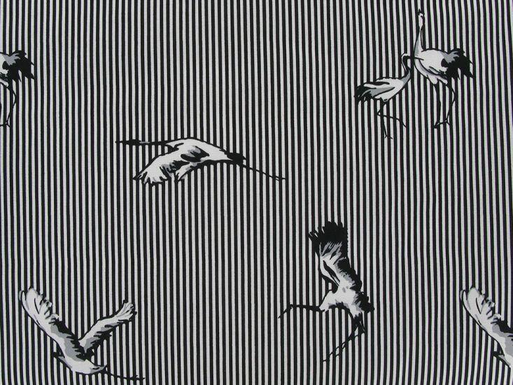 Crane Stripe Stretch Poplin, Black