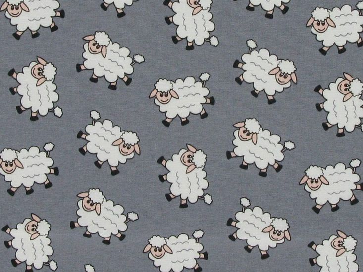 Counting Sheep Cotton Poplin Print, Grey
