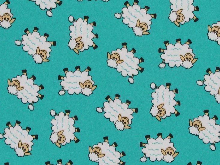 Counting Sheep Cotton Poplin Print, Jade