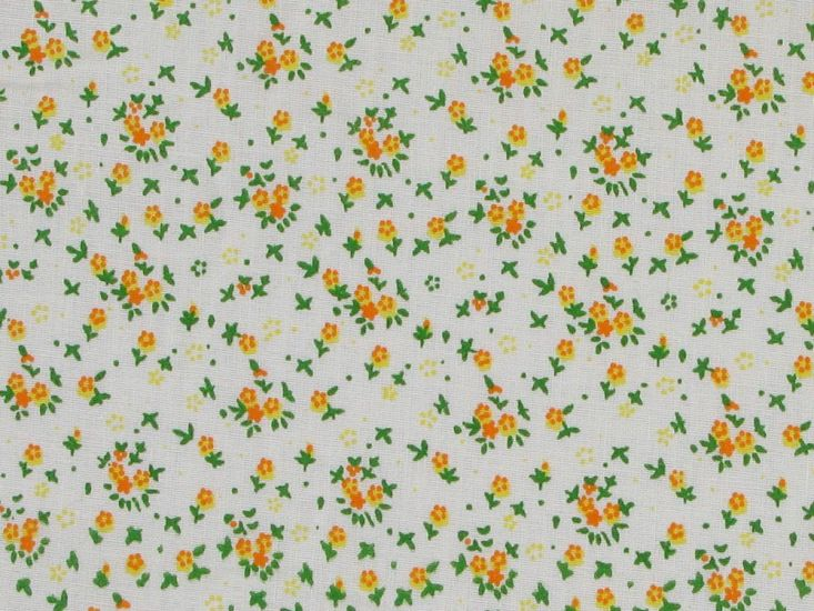 Ditsy Flower Meadow Cotton Print, Yellow