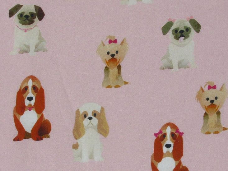 Doggy Bows Cotton Print, Pink