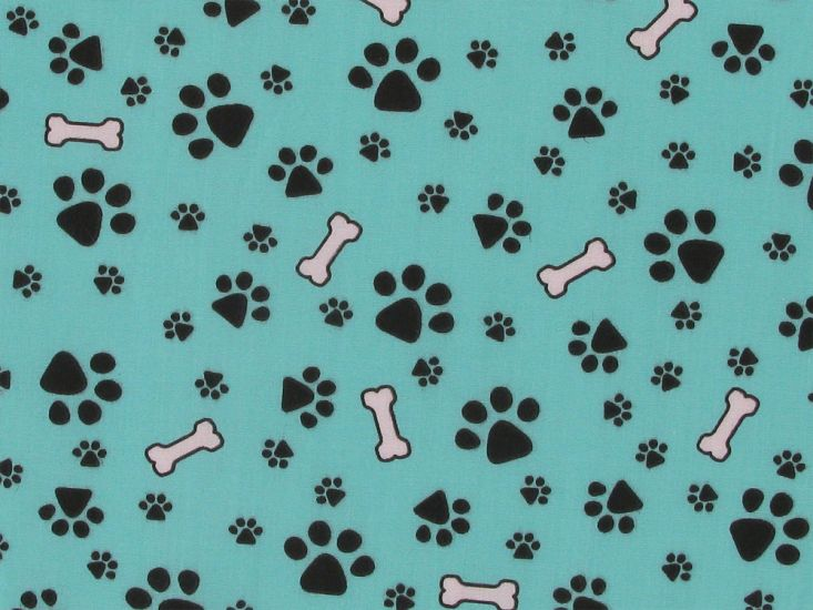 Doggy Paws Polycotton Print, Aqua
