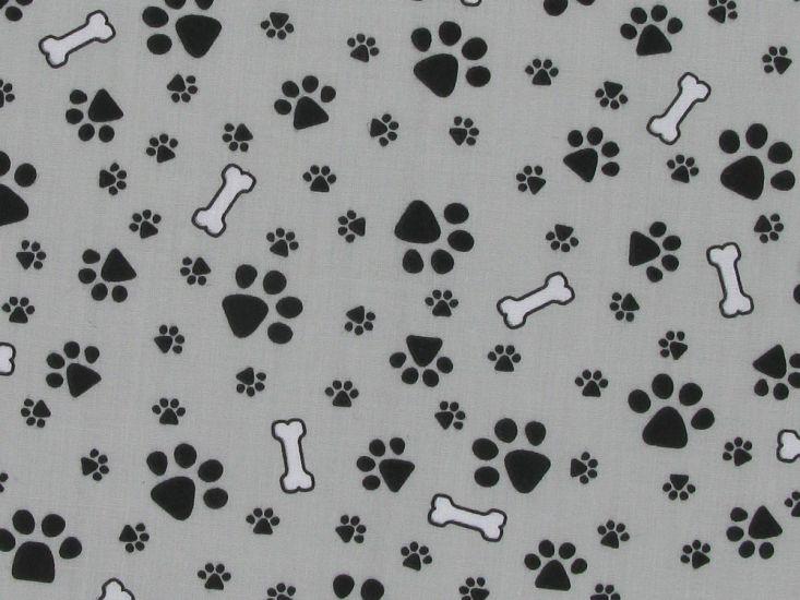 Doggy Paws Polycotton Print, Grey