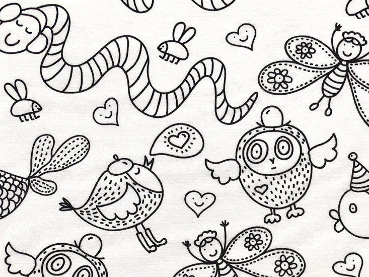 Cotton Rich Panama Canvas, Doodle, Happy Animals