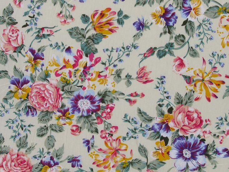 Dorset Rose Cotton Poplin Print, Cream