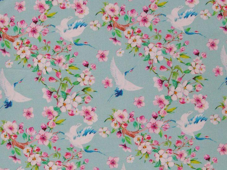 Floral Crane Cotton Jersey