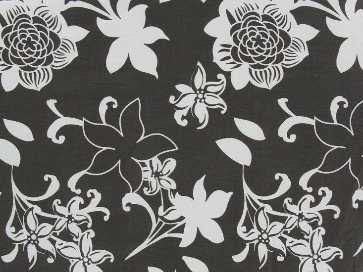 Floral Silhouette Cotton Print, Brown
