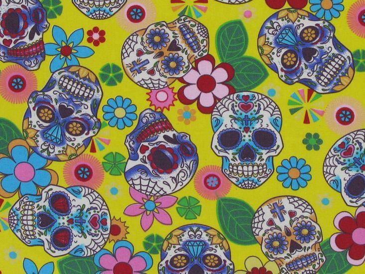Floral Skull Cotton Poplin Print, Yellow