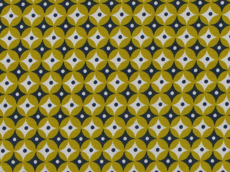 Geometric Circular Eye Cotton, Mustard