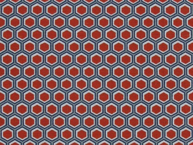 Geometric Honeycomb Cotton Print, Red