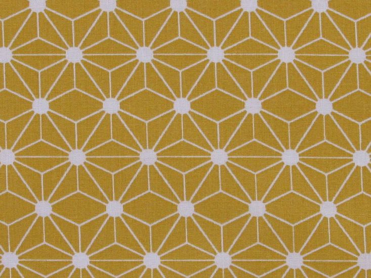 Geometric Rose Cotton Print, Mustard